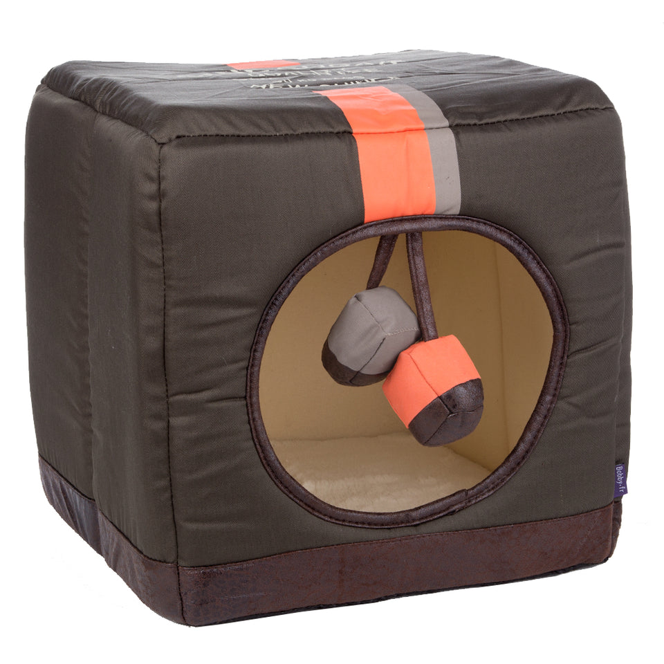 Pet Supplies - Pet Cube Tunnel Bed Green Orange 33cm x 33cm