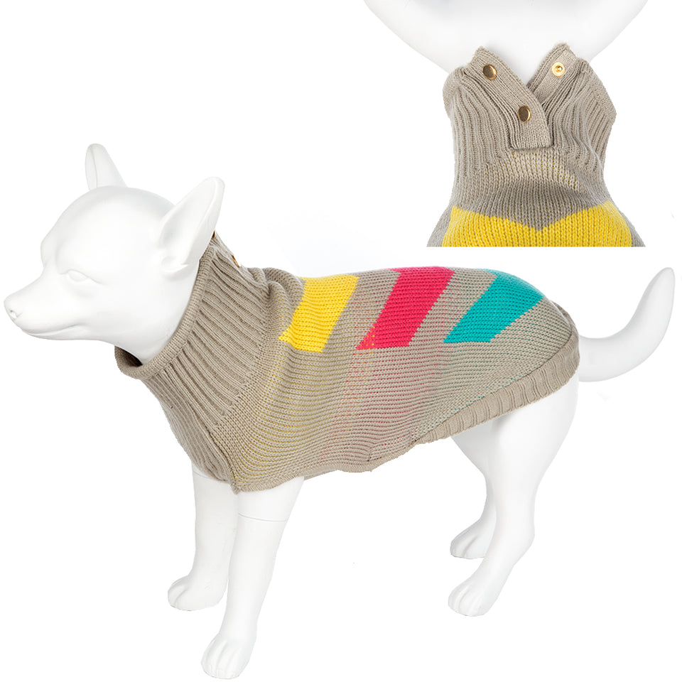 Washable Knitted Pet Dog Coat Outdoor Fleece-Chevron- Beige-50 X-Large