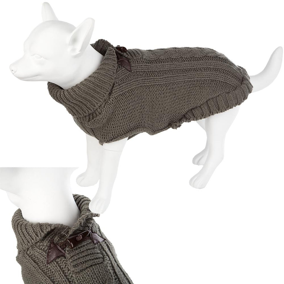 Pet Clothing - Knitted Dog Jumper Dark Green 29 Small