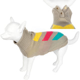 Pet Clothing - Washable Knitted Pet Dog Coat Chevron- Beige-26 X-Small