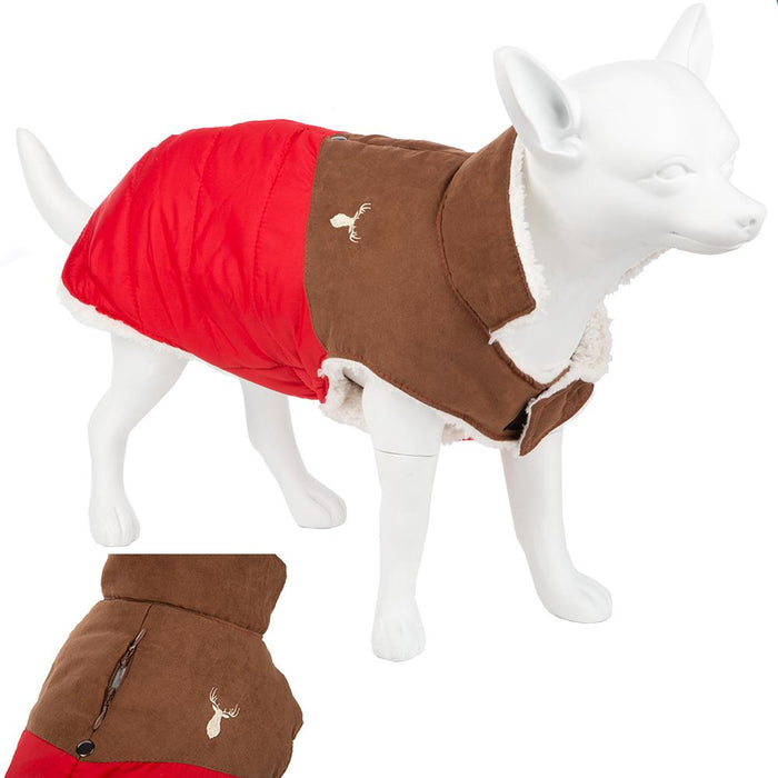 Washable Padded Pet Dog Coat Warm Outdoor Fleece - Red/Brown 42 Large