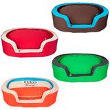 Deluxe Oval Pet Dog Bed - Washable Cover - Various Colours - Various Sizes