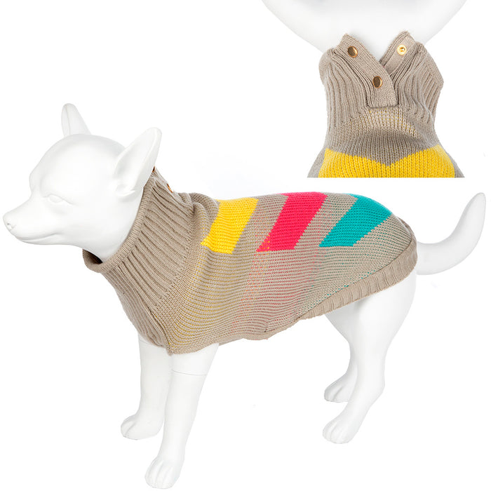 Washabled Knitted Pet Dog Coat Outdoor Fleece Chevron Beige Various Sizes