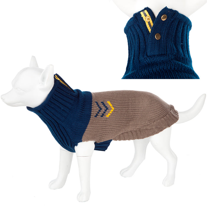 Washable Knitted Dog Coat Outdoor Fleece - Chevron Blue/Grey Various Sizes