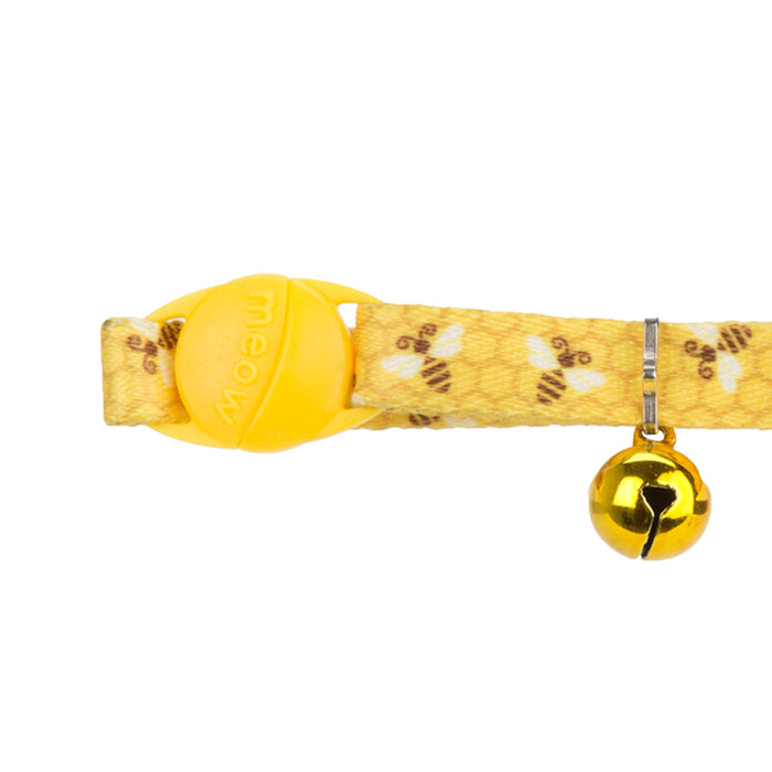 Adjustable Cat Collar With Bell - Honeycomb Bees Yellow - 22.8cm