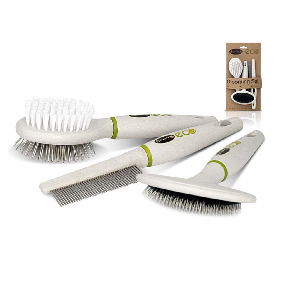 Pet Grooming - Scruffs ECO 3 Piece Dog/Pet Grooming Comb, Slicker & Pin Brush Set