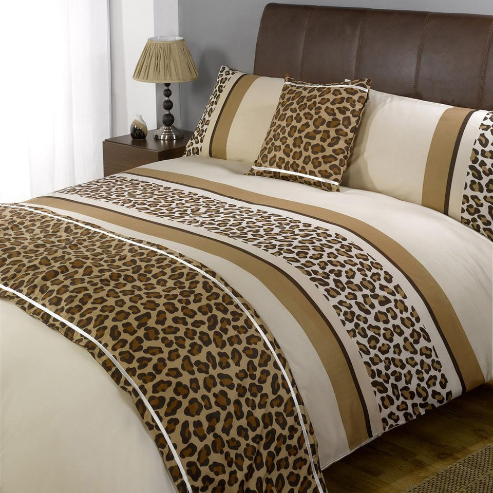 Textiles - Bed In A Bag Duvet Bedding Quilt Cover Set - Leopard Chocolate - Single
