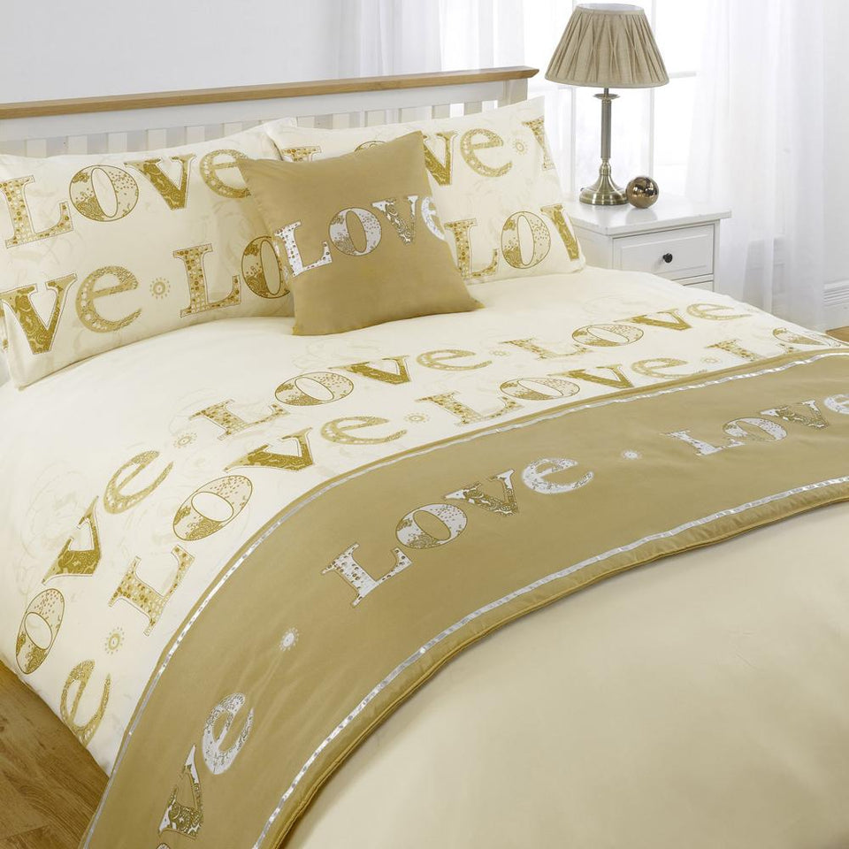 Textiles - Bed In A Bag Duvet Cover & Pillowcase Bed Set - Love Gold - Single