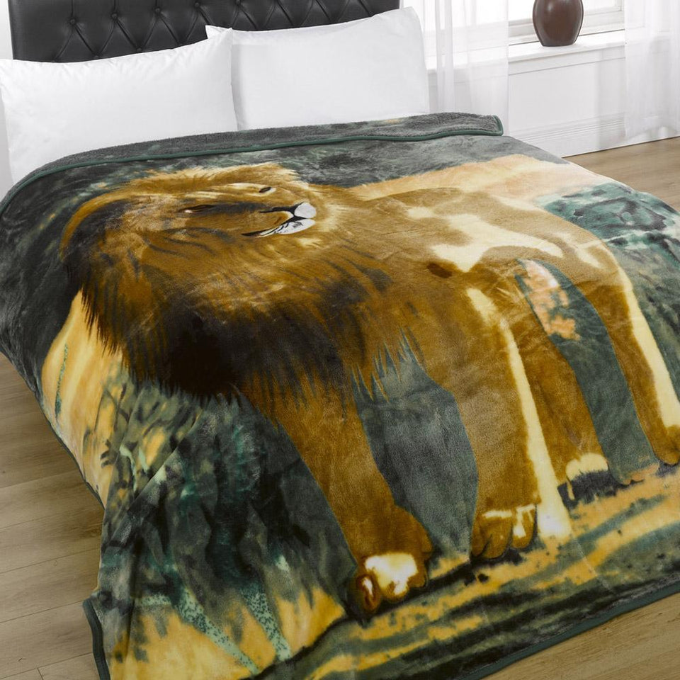 Textiles - Mink Throw Fleece Blanket Lion 200 x 240cm
