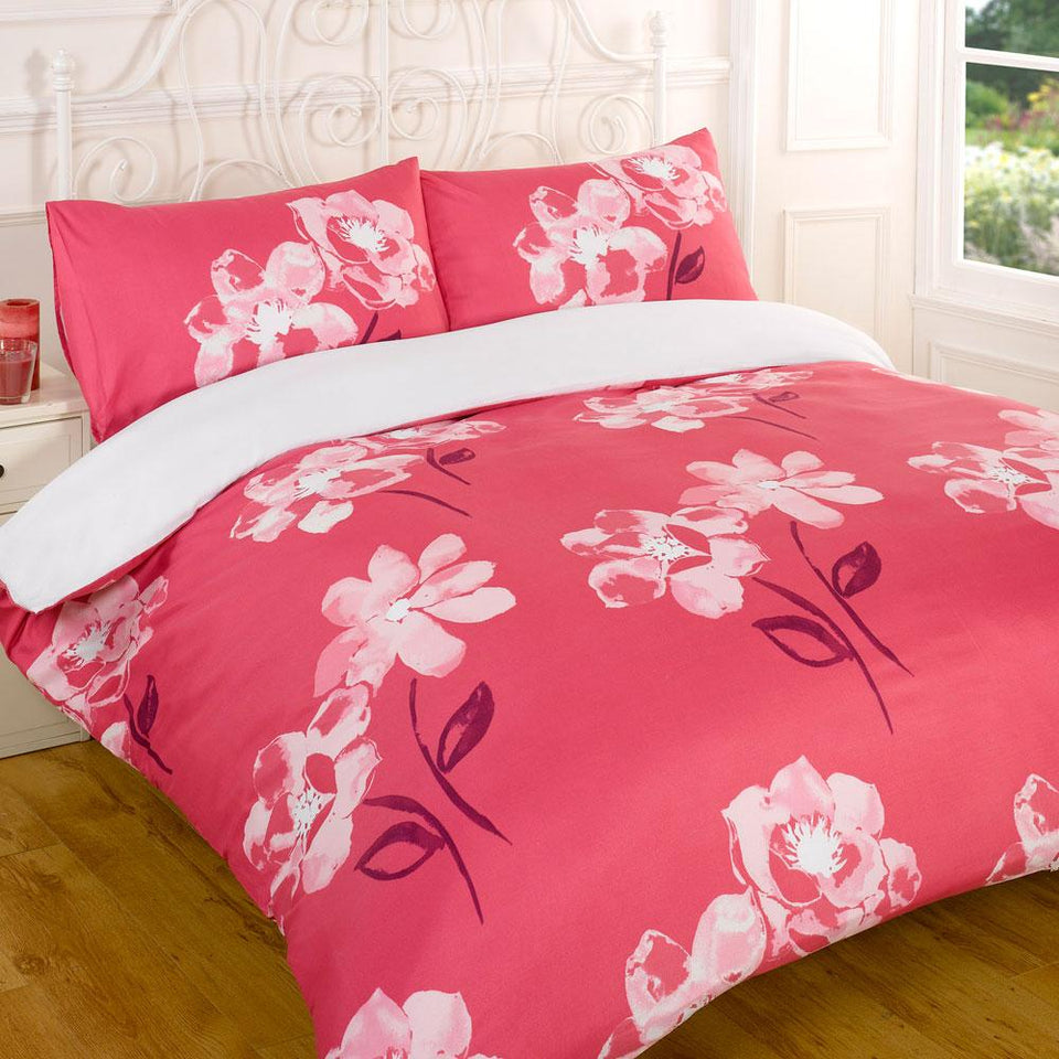 Textiles - Duvet Quilt Cover & Pillow Case Bedding Set - Dana Pink - King