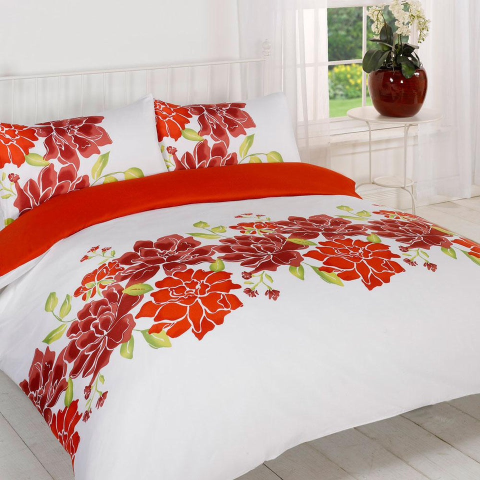 Textiles - Duvet Quilt Cover Bedding Set - Caitlyn Red - Double