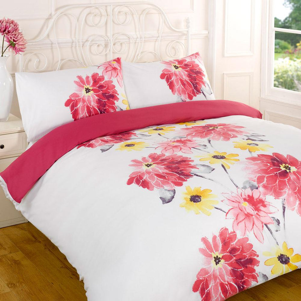 Textiles - Duvet Quilt Cover Bedding Set - Florence Pink - Double