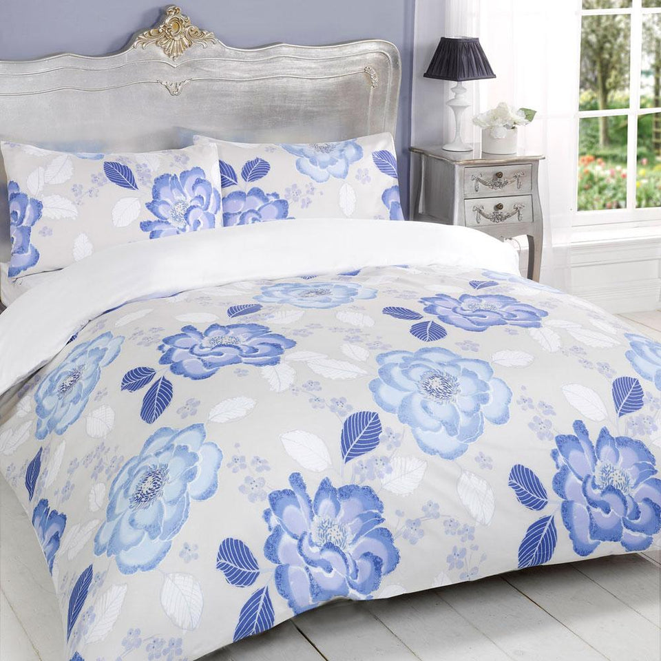 Textiles - Duvet Quilt Cover Bedding Bloom Blue - Single