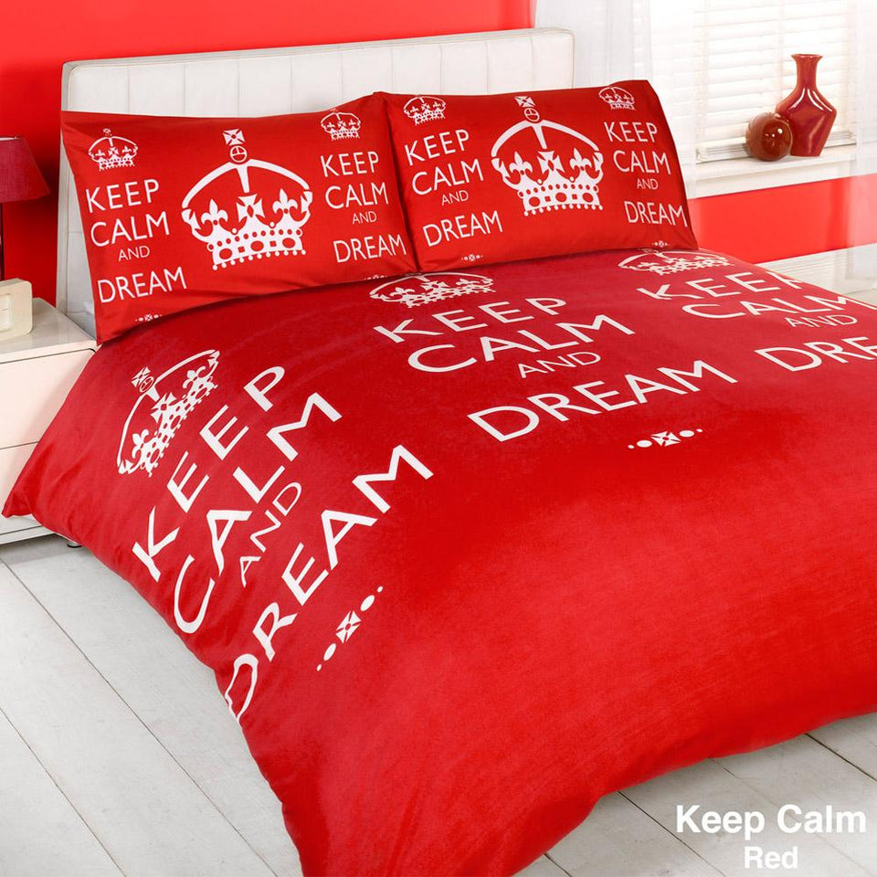 Textiles - Duvet Quilt Cover & Pillow Case Bed Set - Keep Calm Red - King