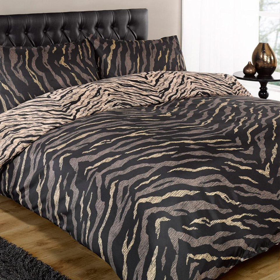 Textiles - Duvet Quilt Cover & Pillow Case Bed Set - Safari Black - Single