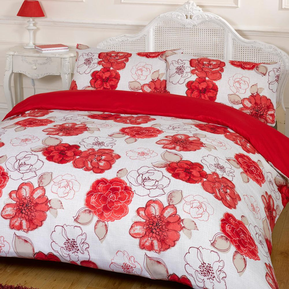 Textiles - Duvet Quilt Cover & Pillow Case Naomi Red Double