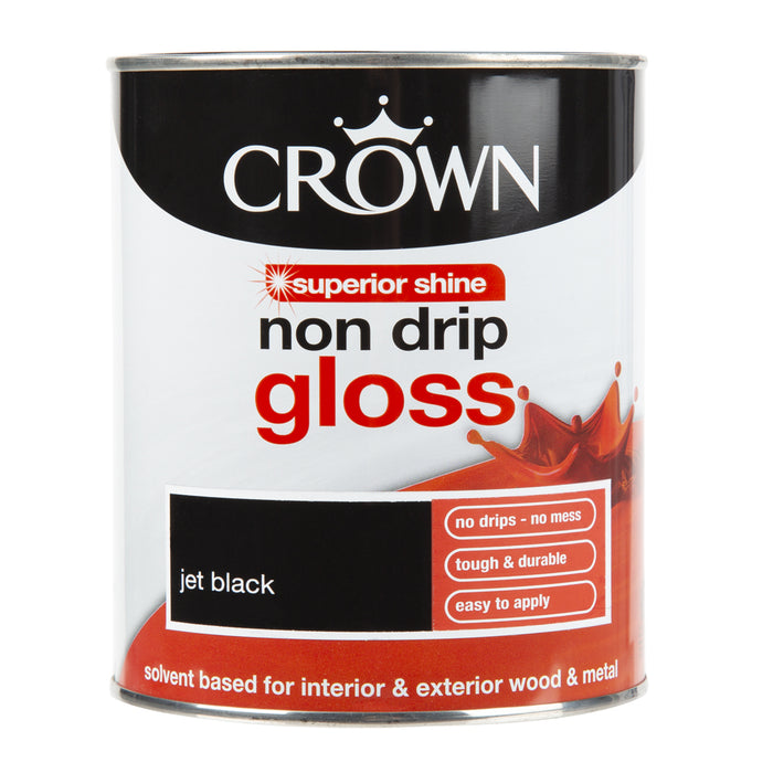Paint & Varnish - Crown Non Drip Gloss - Jet Black - 750ml