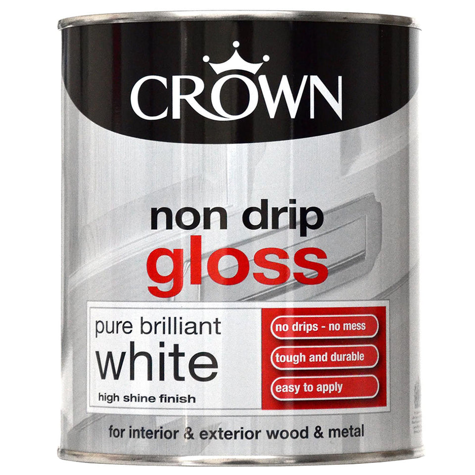 Paint - Crown Non Drip Gloss Paint - Wood/Metal - Pure Brilliant White 750ml