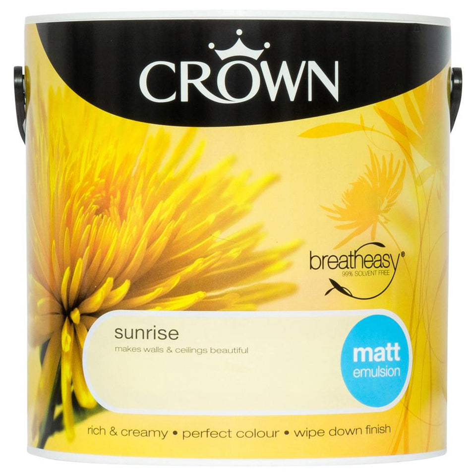 Paint - Crown Breatheasy Paint - Yellow - Matt Emulsion-2.5L