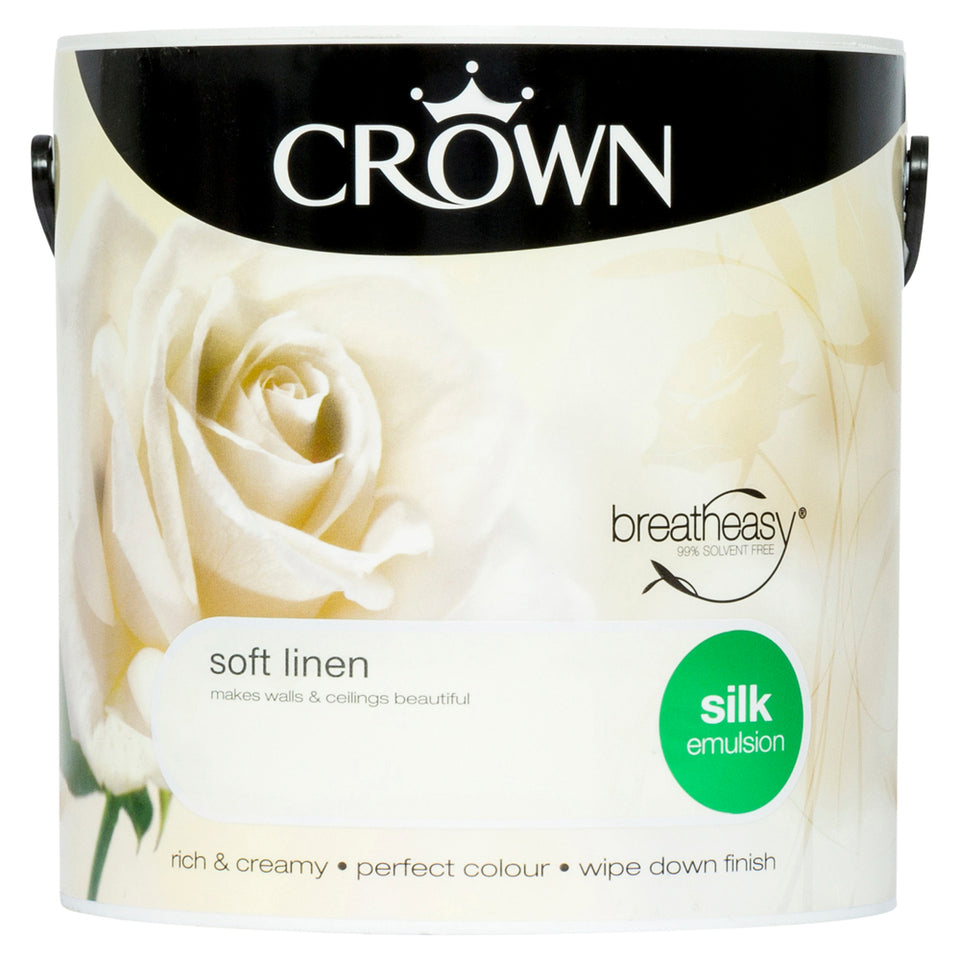 Crown Breatheasy Paint - Soft Linen (Cream) - Silk Emulsion - 2.5L