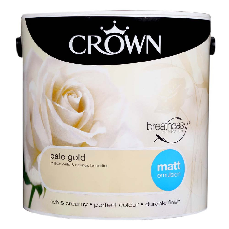 Crown Breatheasy Paint - Pale Gold (Cream) - Matt Emulsion - 2.5L