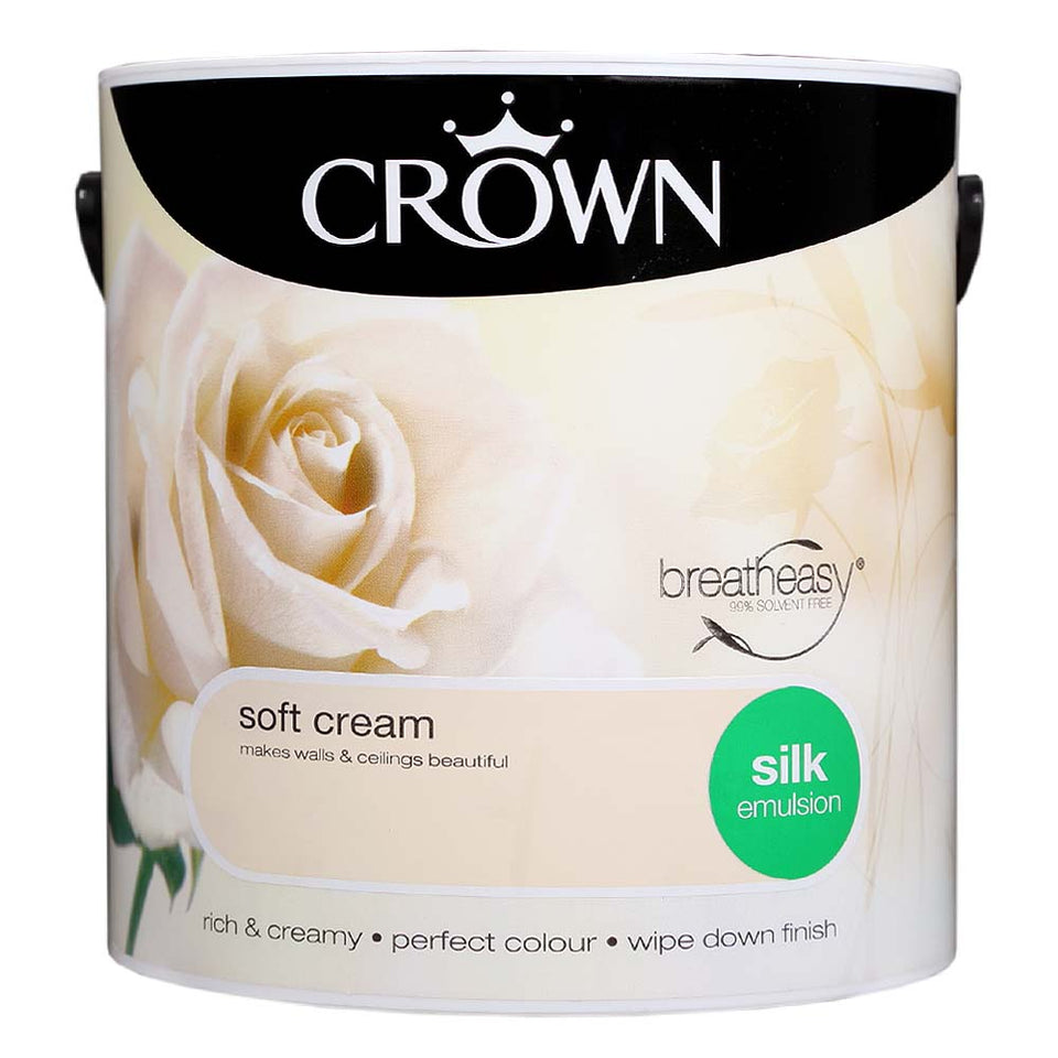 Crown Breatheasy Paint - Soft Cream (Cream) - Silk Emulsion - 2.5L