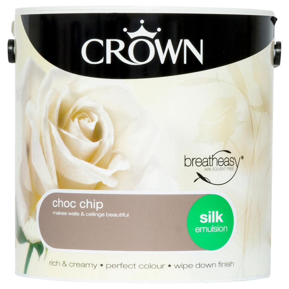 Crown Breatheasy Paint - Choc Chip (Brown) - Silk Emulsion - 2.5L