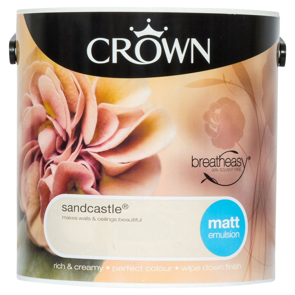 Crown Breatheasy Paint - Sandcastle (Beige/Cream) - Matt Emulsion - 2.5L