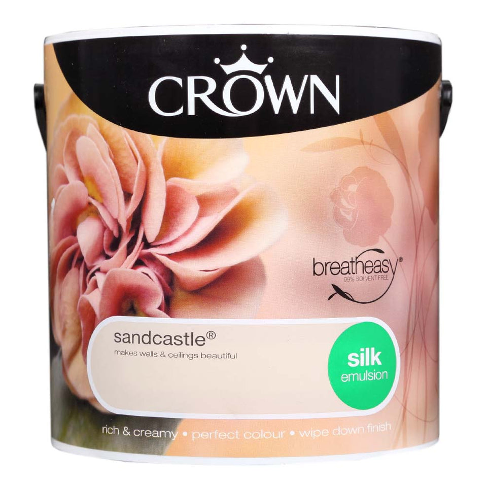 Crown Breatheasy Paint - Sandcastle (Beige/Cream) - Silk Emulsion - 2.5L
