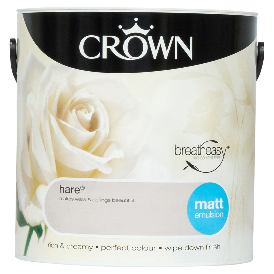 Crown Breatheasy Paint - Hare (Beige) - Matt Emulsion - 2.5L