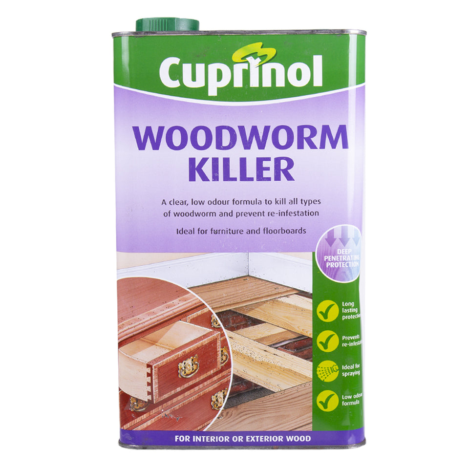 Paint & Varnish - Cuprinol Woodworm Killer For Interior/Exterior Wood - 5L