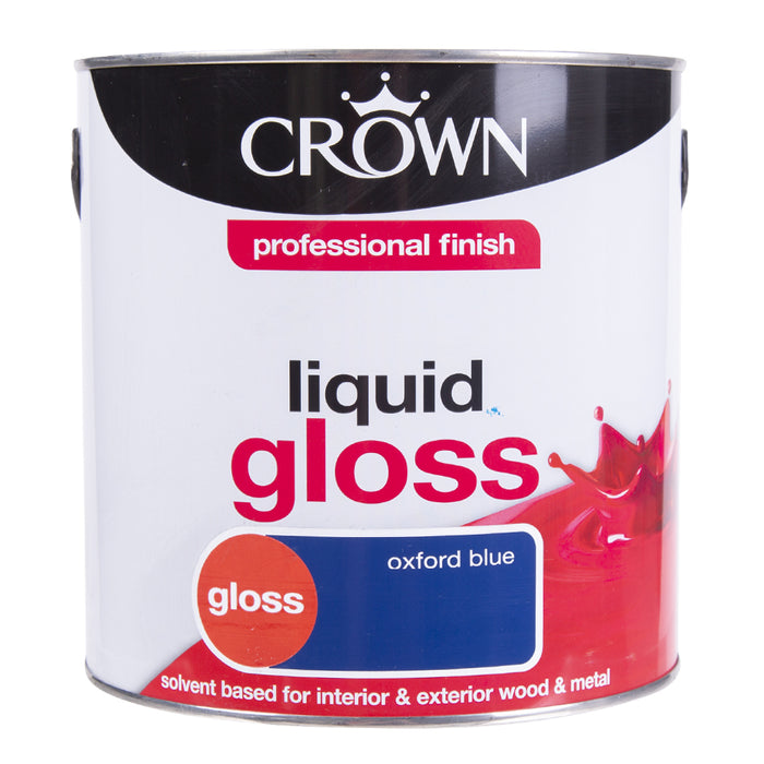 Paint & Varnish - Crown Oxford Blue Interior/Exterior Wood and Metal Liquid Gloss 2.5L