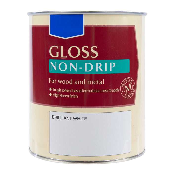 Paint & Varnish - Non Drip Gloss Wood & Metal Paint - Brilliant White - 750ml