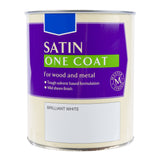 Paint & Varnish - One Coat Wood & Metal Satin Paint - White - 750ml