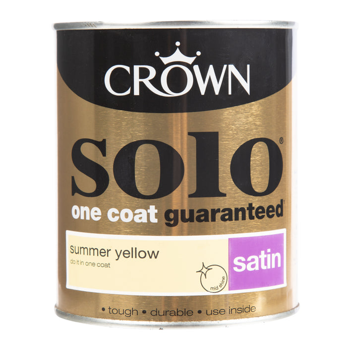 Paint & Varnish - Crown Solo One Coat - Satin - Summer Yellow - 750ml