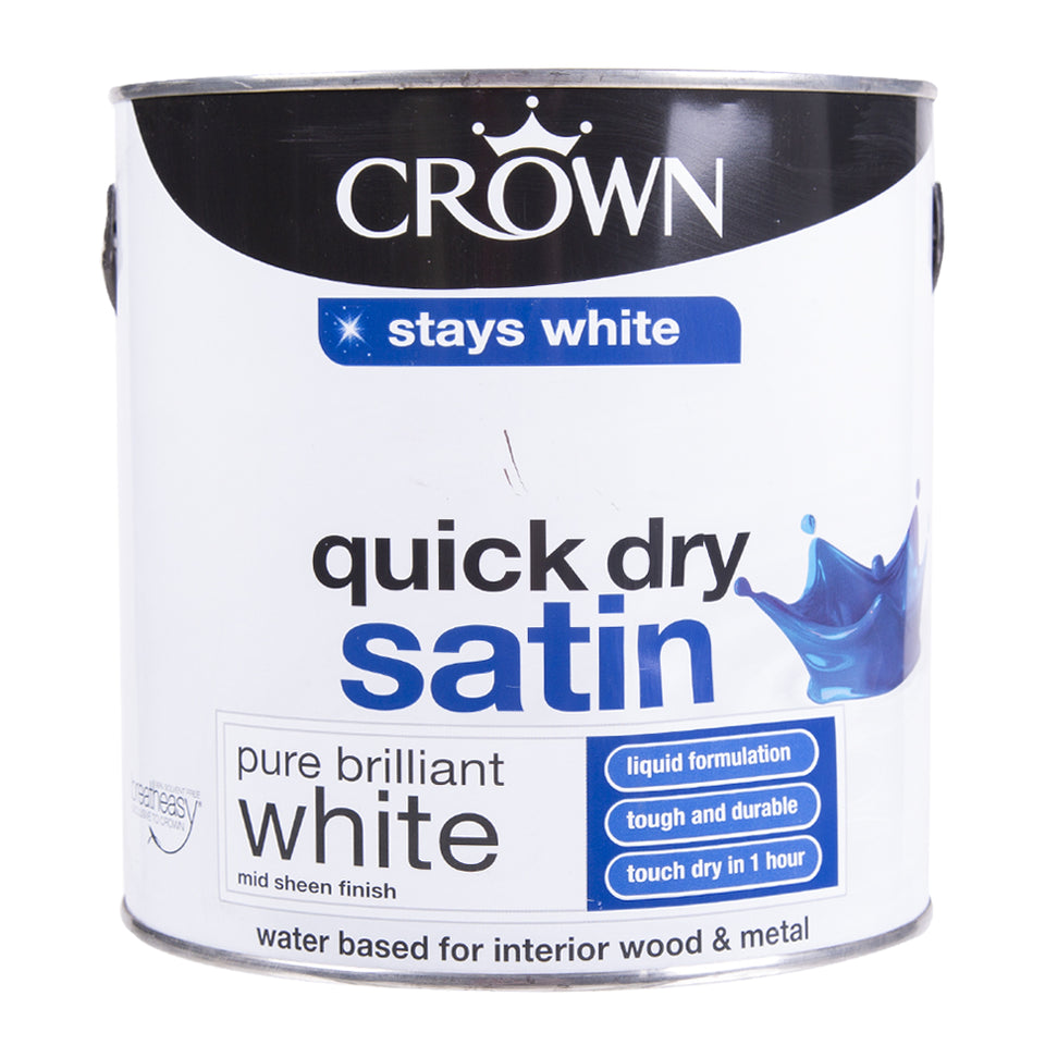 Paint & Varnish - Crown Pure Brilliant White Interior/Exterior Wood and Metal Quick Dry Satin 2.5L