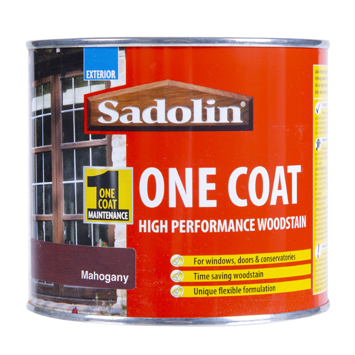 Paint & Varnish - Sadolin One Coat Woodstain - Mahogany - 500ml