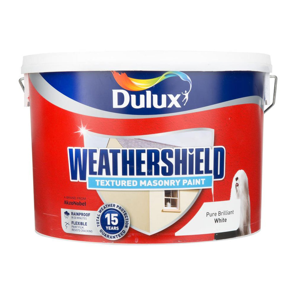 Paint - Dulux Weathershield Masonry Paint - Quick Dry - Brilliant White - 10L