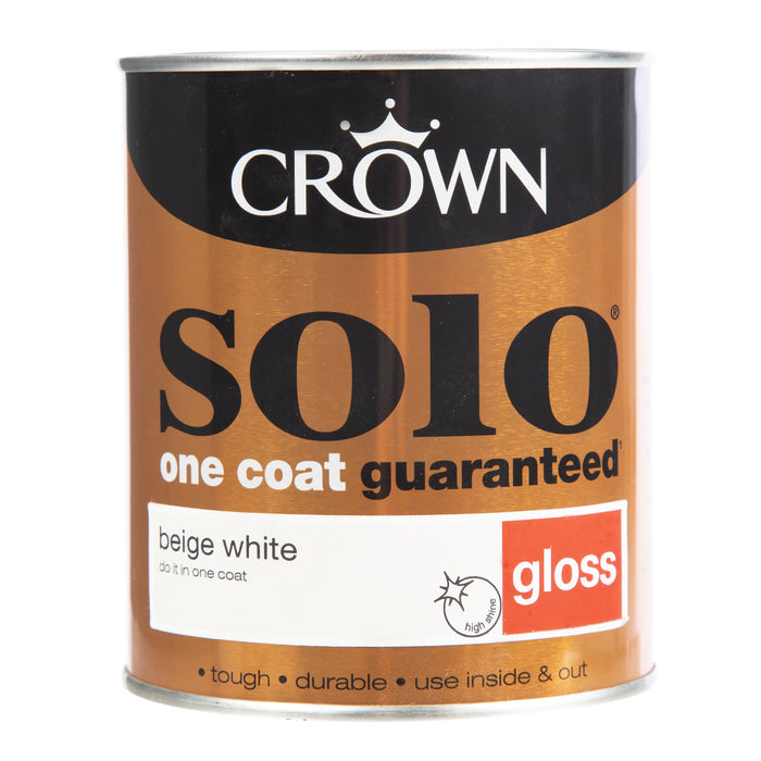 Paint & Varnish - Crown Solo One Coat - Gloss - Beige White - 750ml