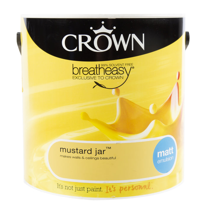 Paint & Varnish - Crown Matt Emulsion Paint - Mustard Jar - 2.5L