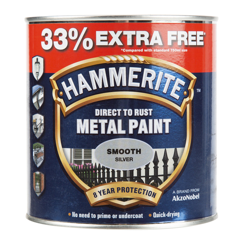 Paint & Varnish - Hammerite Metal Paint - Smooth Silver - 1L