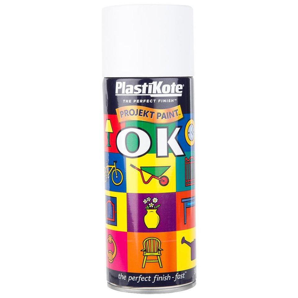 Paint - Plasti-Kote Project Spray Paint Matt White 400ml