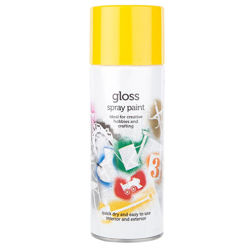 Paint - Quick Drying Enamel Spray Paint Gloss Yellow 400ml