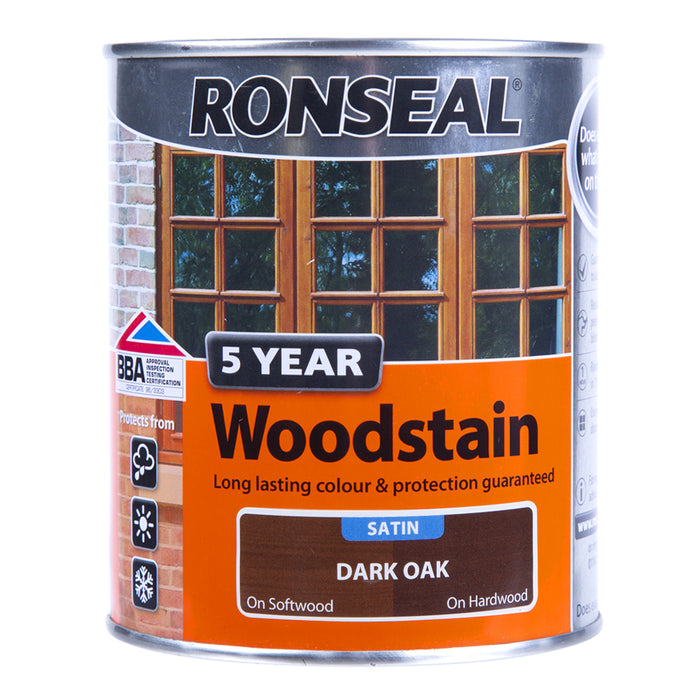 Paint & Varnish - Ronseal Satin Woodstain - Dark Oak - 750ml