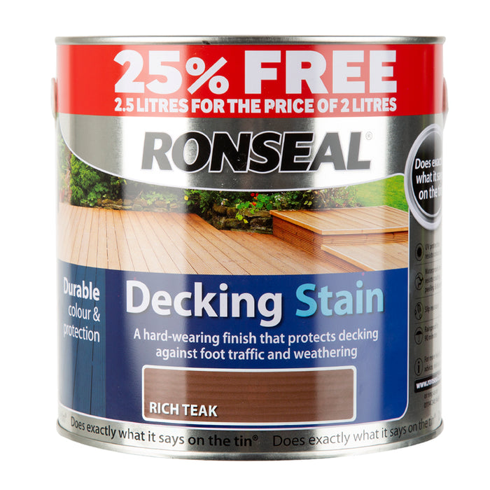 Paint & Varnish - Ronseal Decking Stain - Rich Teak - 2.5L