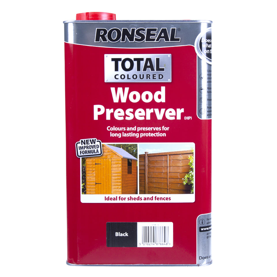 Paint & Varnish - Ronseal Total Coloured Wood Preserver - Black - 5L