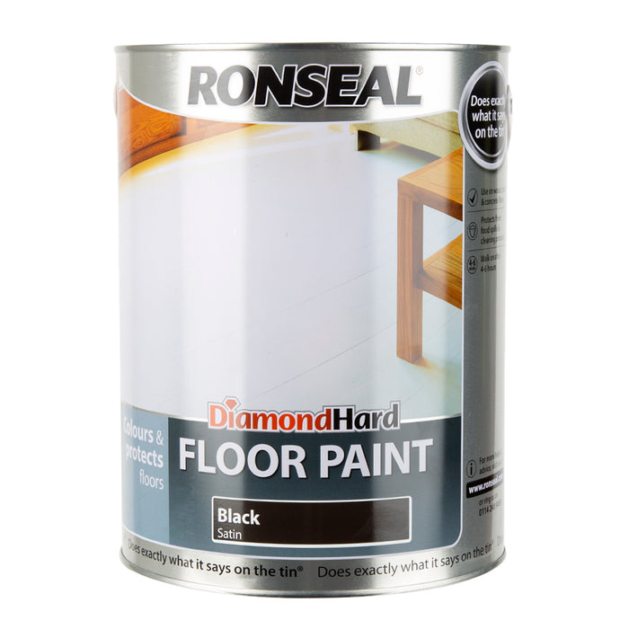 Paint & Varnish - Ronseal Diamond Hard Floor Paint - Black Satin - 5L
