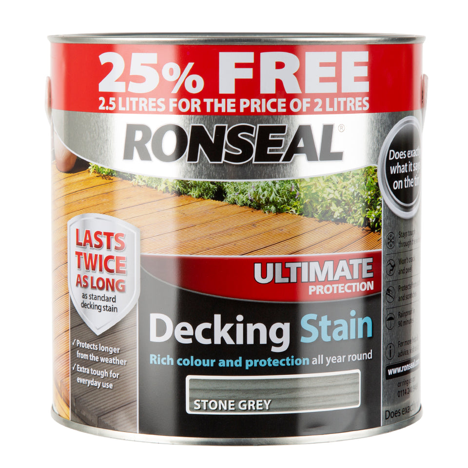 Paint & Varnish - Ronseal Decking Stain - Stone Grey - 2.5L