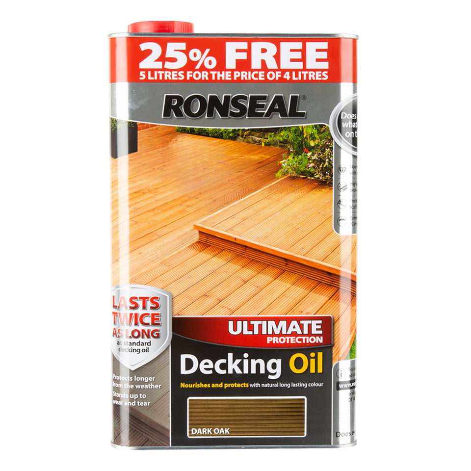 Paint & Varnish - Ronseal Decking Oil  - Dark Oak - 5L