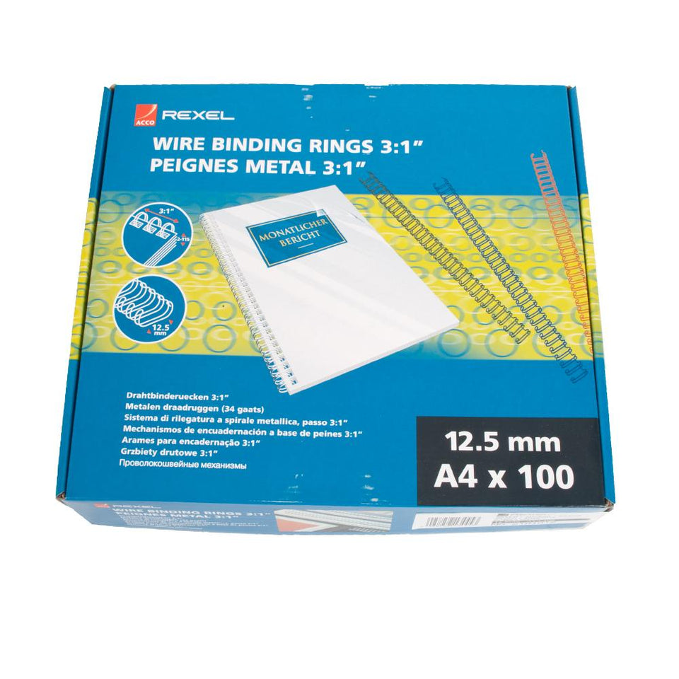 Acco Rexel Office School Wire Binding Rings- A4 - 100 x 12.5mm- Silver